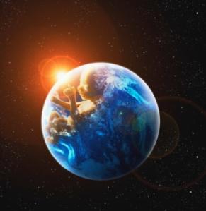 Human fetus in globe (Digital Composite)